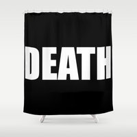 death star Shower Curtains featuring Death by Sinister Star