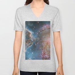 Eagle Nebula and Spiral Galaxy Deep Space Telescopic Photograph Unisex V-Neck