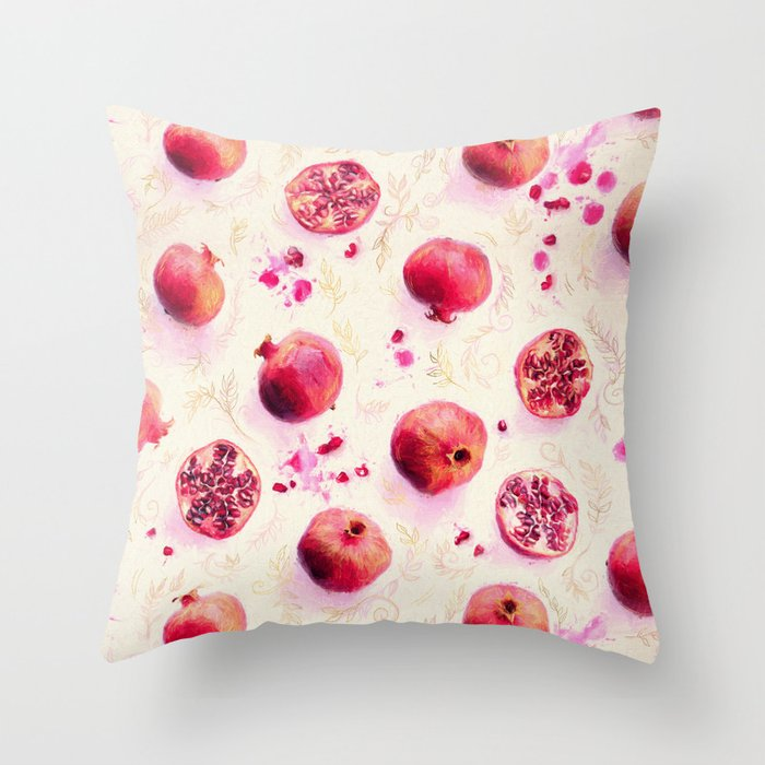 Painted Pomegranates with Gold Leaf Pattern Throw Pillow