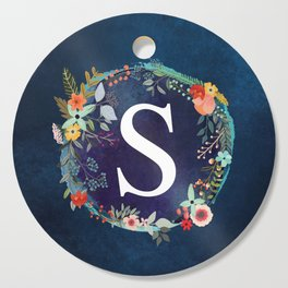Personalized Monogram Initial Letter S Floral Wreath Artwork Cutting Board