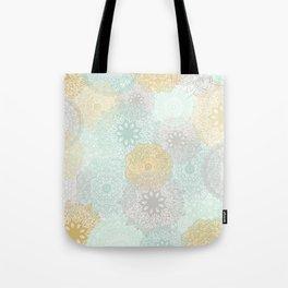 Floral Mandala Blooms Fall, Yellow, Aqua,Gray Tote Bag