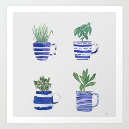 Blue stripes and herbs quartet Art Print
