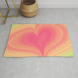Abstract Tropical Pastel Rainbow Heart Pattern | Valentine's Day Rug