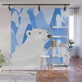 Polar Bear In The Cold Design Wall Mural