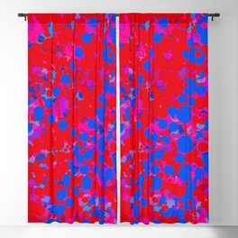 blue on red, circles Blackout Curtain