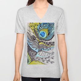 Peacock feather illustration wall art Unisex V-Neck