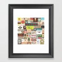 OLD LOGOS Collage Framed Art Print