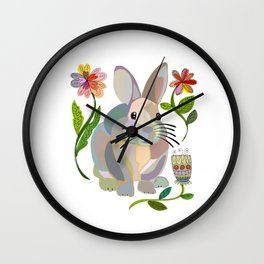 Bunny Rabbit with Flowers Wall Clock