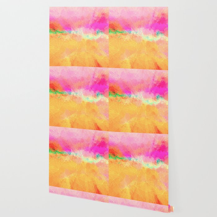 Modern Pastel Rainbow Cascade Abstract Wallpaper By