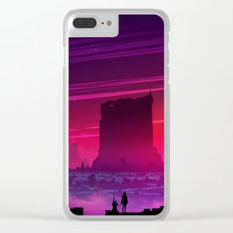 Synthwave Space #17: Twilight horizon Clear iPhone Case