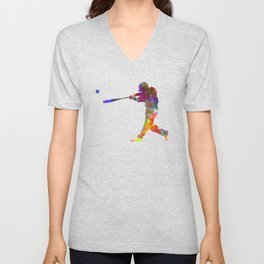 Baseball player hitting a ball Unisex V-Neck