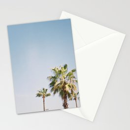 Palmtrees in Barcelona Europe | Blue Sky, Green Palm Trees Tropical vibe Stationery Cards