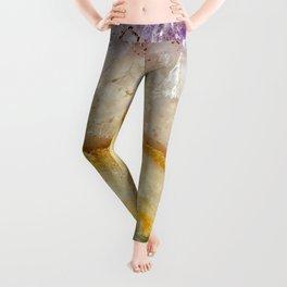 Striated Amethyst in Purple Gold & Green Leggings