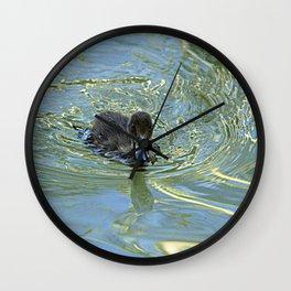 Little Black Duckling Swimming Wall Clock