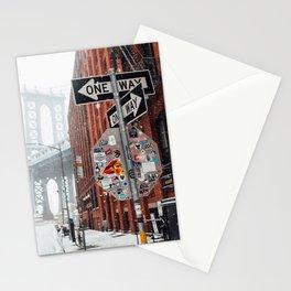 Street sign in snow near Manhattan Bridge Stationery Cards