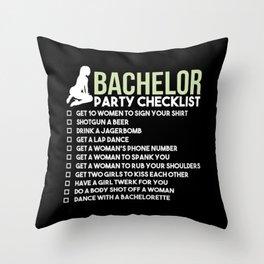 Bachelor Party Checklist Throw Pillow