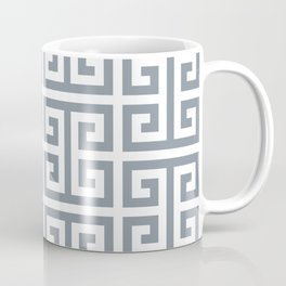 Large Steel Grey and White Greek Key Pattern Coffee Mug