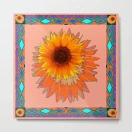 Coral Color Western Style Floral Abstract Metal Print