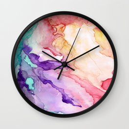 Color My World Watercolor Abstract Painting Wall Clock