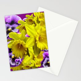 YELLOW SPRING DAFFODILS & LILAC PANSIES COLOR ART Stationery Cards