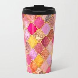 Hot Pink, Gold, Tangerine & Taupe Decorative Moroccan Tile Pattern Travel Mug