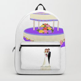 A Wedding Cake with Roses in Primary Colors Backpack