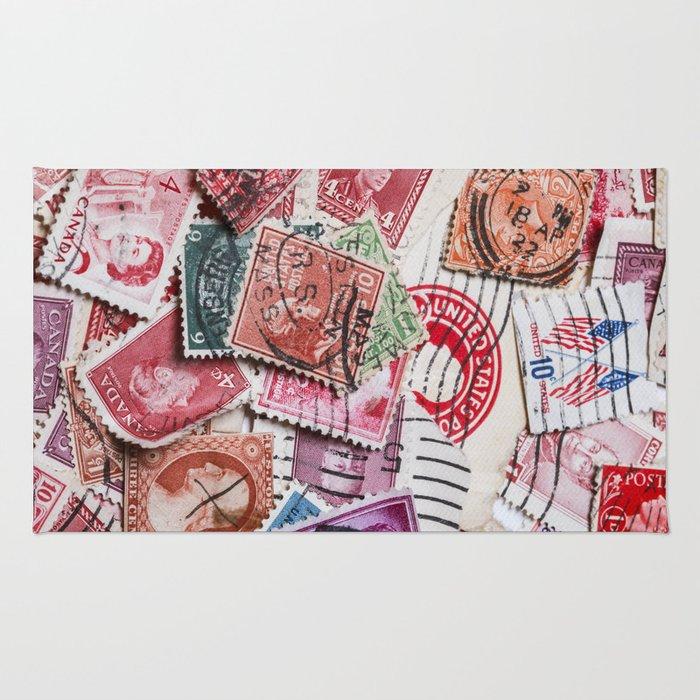 Vintage Red Stamps Rug