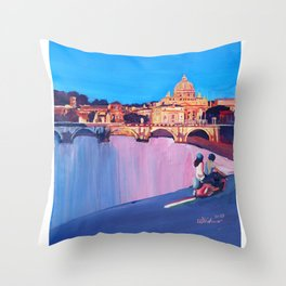 Rome Scene with Motorcycle and view of Vatican with Dome of St Peter Throw Pillow