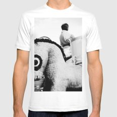 Pony with big eyes MEDIUM Mens Fitted Tee White