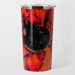 Orange Sunflower & Teal Contemporary Abstract Travel Mug
