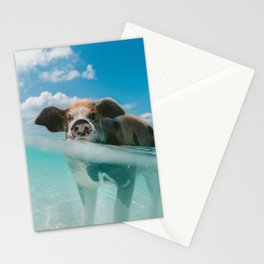 Pig in water Stationery Cards