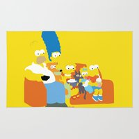 simpsons Area & Throw Rugs featuring The Simpsons - Family by TracingHorses