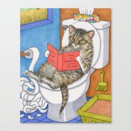 Cat on toilet Canvas Print