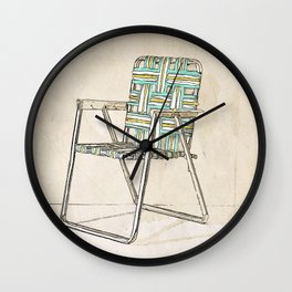 Digital Retro Relic Classic Lawnchair Digital Art Sodaartstudio Wall Clock