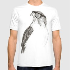 Hawk with Poor Eyesight White LARGE Mens Fitted Tee