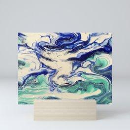 Aqua Ocean Waves Mini Art Print