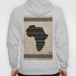 Map of Africa in Black on Beige, Ethnic Heritage, Cultural by Saletta Home Decor Hoody