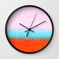 number Wall Clocks featuring Number 3 by Red Coat Studio Design