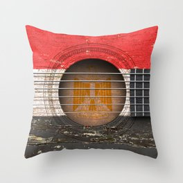 Old Vintage Acoustic Guitar with Egyptian Flag Throw Pillow