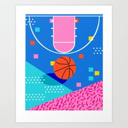 Shot Caller - memphis retro basketball sports athletic art design neon throwback 80s style Art Print