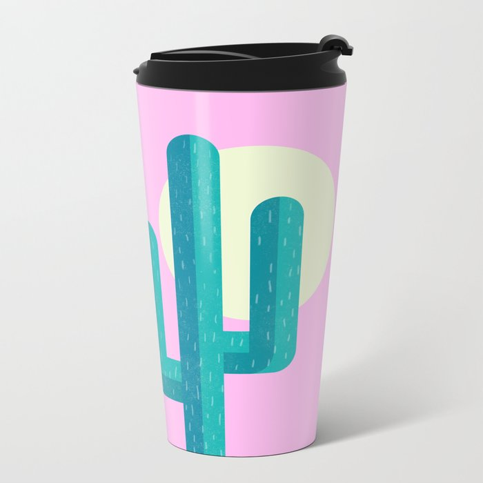 Pink Cactus Metal Travel Mug