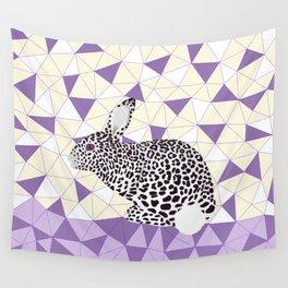 Cute Purple Pastel Rabbit Leopard Pattern Design Wall Tapestry