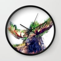 moose Wall Clocks featuring Moose by jbjart