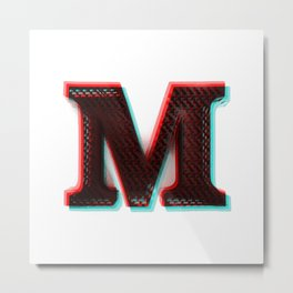 Stereoscopic 3D M Initial Letter Metal Print