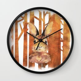 Fast Rabbit in the forest - abstract Hare watercolor Illustration Wall Clock