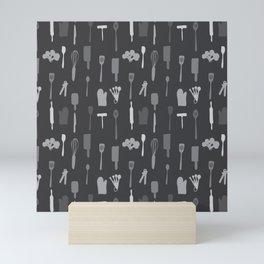 In The Kitchen — Grey Mini Art Print