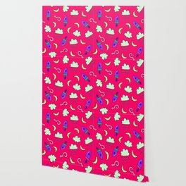 Doddles spacecrafts clouds and moon in pink space pattern Wallpaper