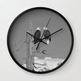 Perched With A View Duo - B & W Wall Clock