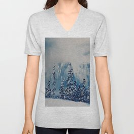 Snowy Mist landscape. Winter Scene. Snowy forest. Perfect Christmas scenery and gift, original oil painting by Luna Smith Unisex V-Neck
