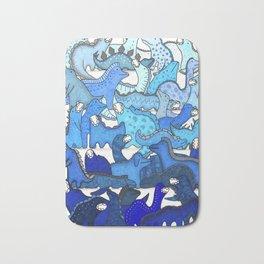 Blue Dinosaur Gradient Bath Mat